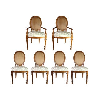 Mid-Century Drexel Cane Back Wicker French Provincial Dining Chairs in Green Toile - Set of 6 For Sale