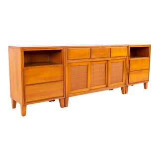 Mid Century Russel Wright for Conant Ball 3 Piece Blonde Buffet For Sale
