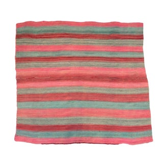 Bolivian Frazada III Striped Rug / Throw - 4′10″ × 4′6″ For Sale