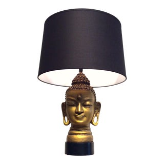 1950s Hollywood Regency Gold Buddha Head Table Lamp For Sale