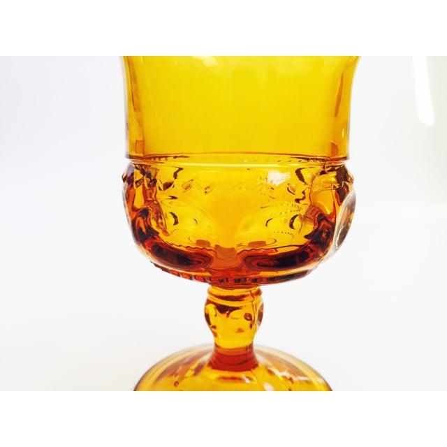 Vintage Amber Pressed Glass Goblets - Set of 8 For Sale - Image 5 of 5