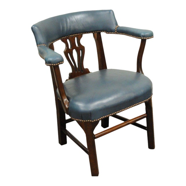 Vintage Ephraim Marsh Chippendale Blue Leather & Mahogany Library Office Arm Chair - Image 1 of 11