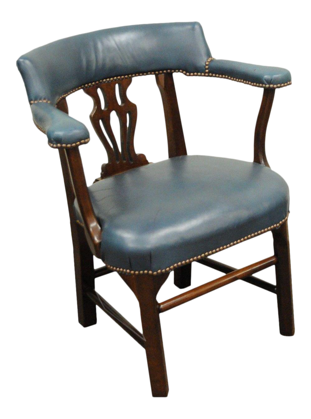 Vintage Ephraim Marsh Chippendale Blue Leather U0026 Mahogany Library Office Arm  Chair