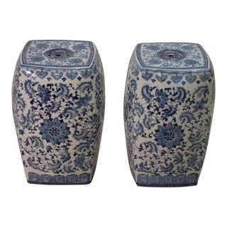 Chinese Porcelain Garden Stools - a Pair
