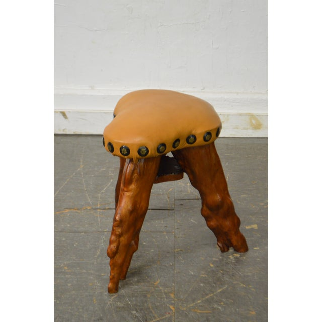 STORE ITEM #: 15501-fwmr Cypress Tree Root Leather Seat Small Stool AGE/COUNTRY OF ORIGIN – Approx 50 years, America...