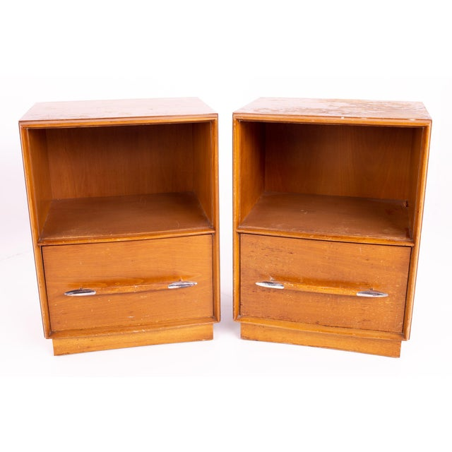 T. H. Robsjohn-Gibbings for Widdicomb Mid Century Nightstands - Pair Each nightstand measures 19 wide x 15.5 deep x 25.5...