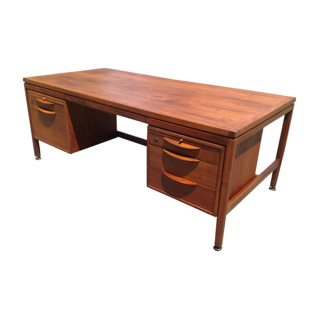 Jens Risom Walnut Executive Desk - Image 1 of 10