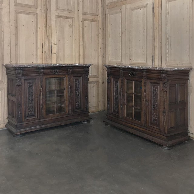 Pair 19th Century French Louis XIV Marble Top Display Buffets For Sale - Image 13 of 13