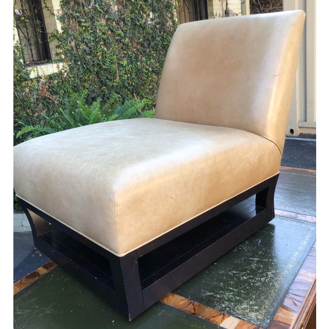 Modern Pair of Donghia Open Villa Leather Swivel Slipper Chairs For Sale - Image 3 of 4