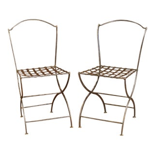 Pair of 19th Century French Polished Iron Bistrot Chairs From Paris For Sale