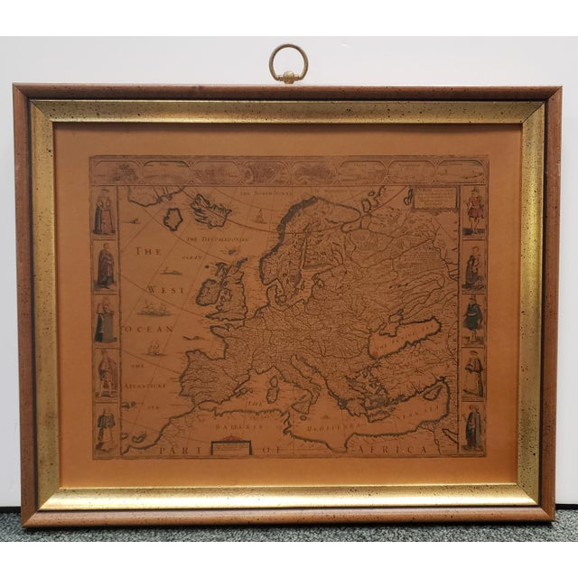 Mid-Century Modern 1960s Mid Century B & S Creations Old World Map Print For Sale - Image 3 of 3