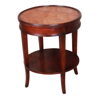 Baker Furniture Regency Style Mahogany and Burl Wood Two-Tier Nightstand or Side Table For Sale