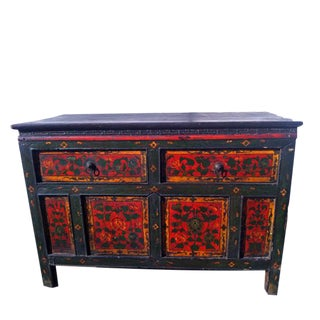 Hand Painted Pine Tibetan Side Table