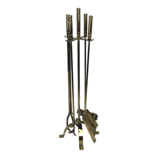 R Pouliot French Sculptural Brass Firetools For Sale