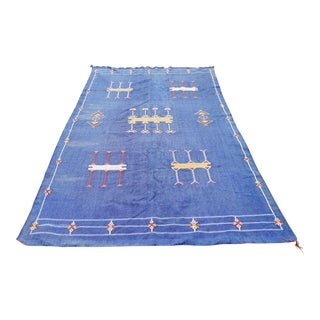 "Moroccan Indigo Blue Cactus Silk Rug- 4'5"" x 8' For Sale"