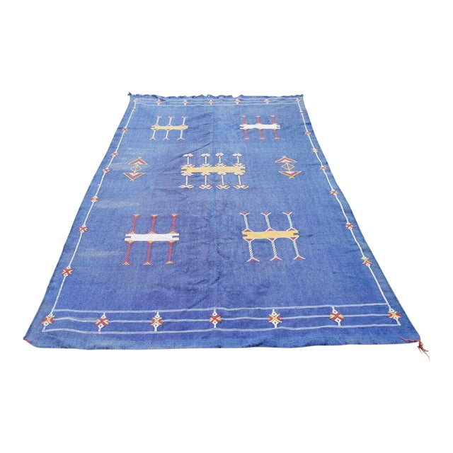 "Moroccan Indigo Blue Cactus Silk Rug- 4'5"" x 8' - Image 1 of 6"