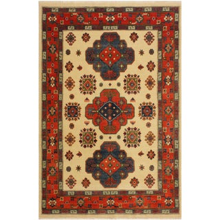 Kazak Garish Jose Ivory/Red Wool Rug - 5'0 X 6'11 For Sale