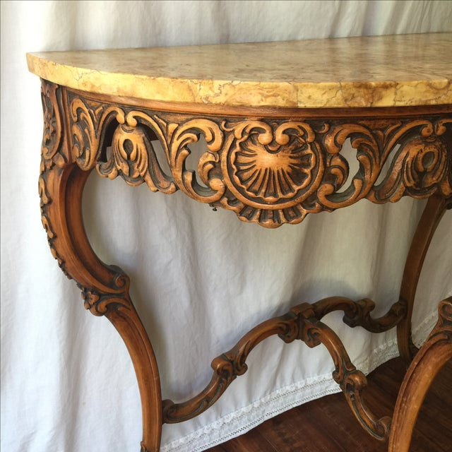 French Ormolu Marble Demilune Table - Image 11 of 11