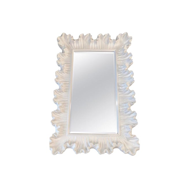 Vintage Hollywood Regency Lacquered White Ruffle Scalloped Wall Mirror For Sale