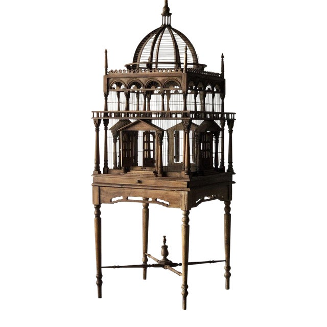 Grand architectural birdcage on stand For Sale