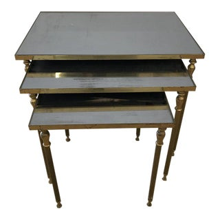 1950s Mid Century Modern French Brass Nesting Tables - Set of 3 For Sale