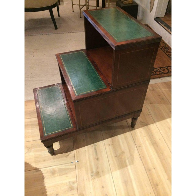 Hollywood Regency Regency Style Mahogany & Green Leather Library Steps Side Table For Sale - Image 3 of 7