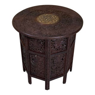 1960s Moorish Carved and Inlaid Teak Six Side Coffee Table For Sale