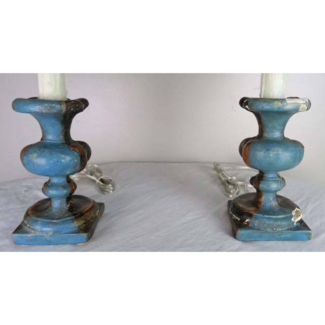 Wood Pair of Italian Polychrome Lamps W/ Parchment Shades For Sale - Image 7 of 9