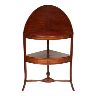 Mahogany Corner Wash Stand With Red Leather Top For Sale