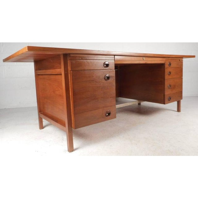 Impressive Mid Century Modern Walnut Executive Desk By Dunbar Chairish