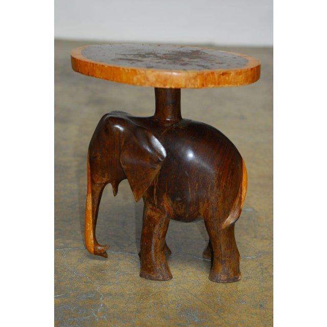 English Carved Elephant Drink Tables - a Pair For Sale - Image 3 of 7