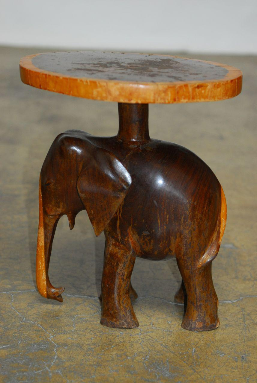 Carved Elephant Drink Tables   A Pair   Image 3 Of 7