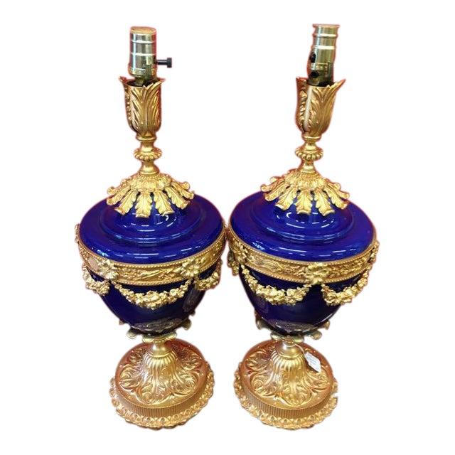 Italian Cobalt Ceramic & Bronze Dore Table Lamps- A Pair For Sale