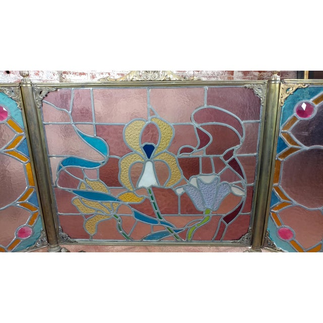 Art Nouveau Gorgeous Art Nouveau Bronze & Stained Glass Fireplace screen For Sale - Image 3 of 12
