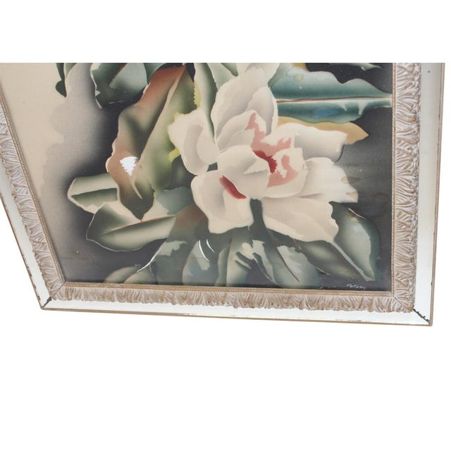 Vintage Mirror Framed Floral Paintings For Sale - Image 4 of 4