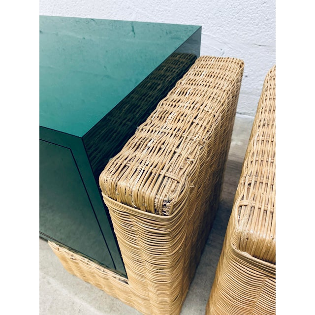 Mid Century Modern Rattan Nightstands, 1970s - a Pair For Sale - Image 9 of 12