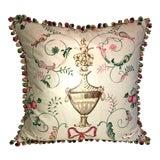 "Image of Vintage Scalamandre ""Dunbarton"" Garden Toile Cartouche Down Feather Pillow ~ Kravet Couture Jade Silk Velvet for Reverse. For Sale"