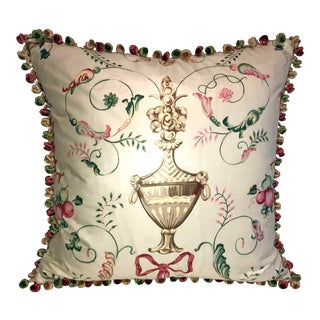 "Vintage Scalamandre ""Dunbarton"" Garden Toile Cartouche Down Feather Pillow ~ Kravet Couture Jade Silk Velvet for Reverse. For Sale"