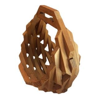 Mid-Century Folk Art Handmade Geometric Magazine Rack or Hanging Planter Basket For Sale