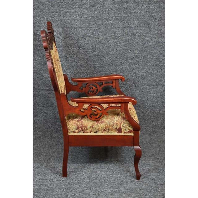 French Provincial Antique Old World Ornately Carved Shield Back Arm Chair Burgundy Floral Tapestry For Sale - Image 3 of 13