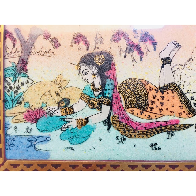 Anglo-Raj Wood and Brass Box With Hand-Painted Scene For Sale - Image 4 of 10