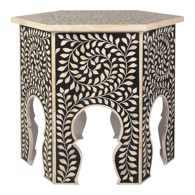 Imperial Beauty Moroccan Accent Table in Black/White For Sale