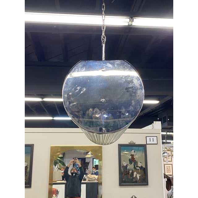 Enormous Heavy 1960's Art Deco Glass Chrome Ceiling Light Fixture Glass Rod For Sale In New York - Image 6 of 9