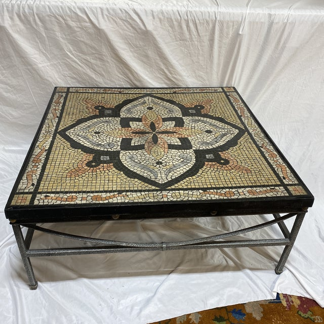 Boho Faux Mosaic Painted Tile Coffee Table For Sale - Image 11 of 11