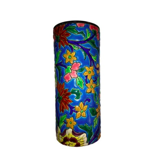 Antique French Floral Faience Vase - Image 1 of 3