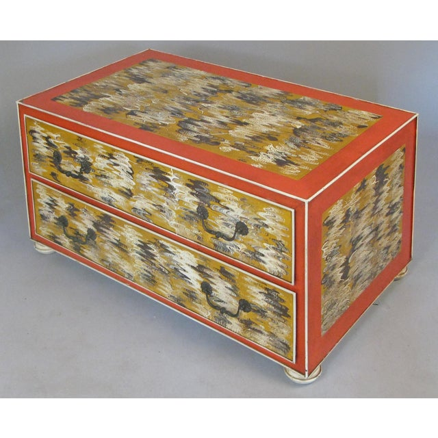 Mid-Century Modern 1960s Vintage Hand Painted Metal 2-Drawer Chest For Sale - Image 3 of 9