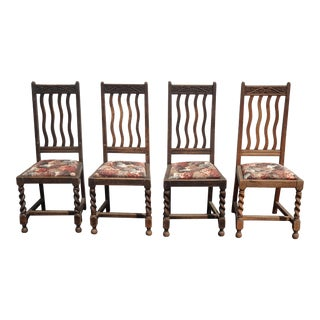 Set of Four Rustic French Country Barley Twist Dining Chairs Farmhouse Chic by Johnson Brothers For Sale