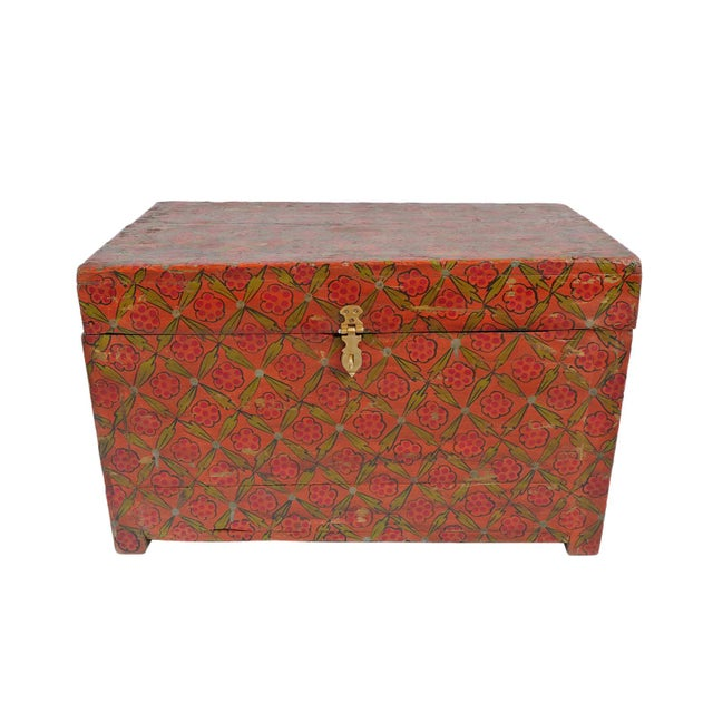 Brass Vintage Painted Wood Trunk For Sale - Image 7 of 7