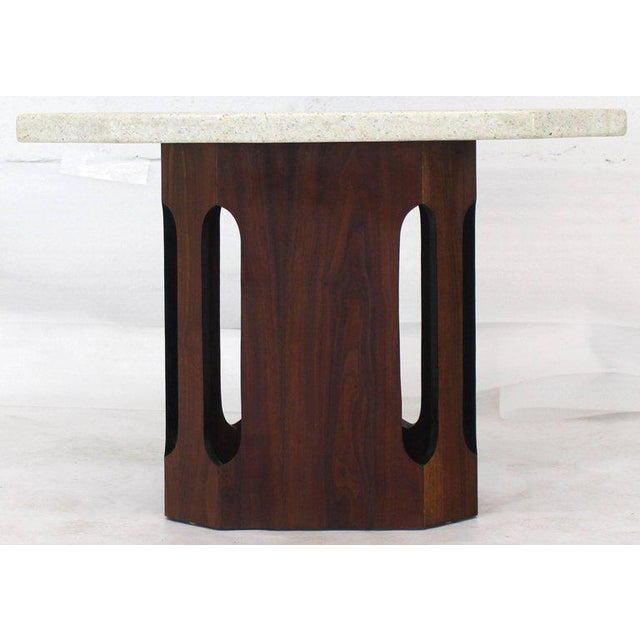 Mid-Century Modern Oiled Walnut Base Terrazzo Top Side Table For Sale - Image 3 of 10