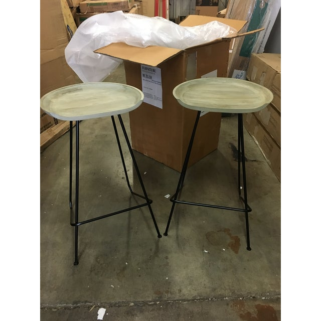 Modern Industrial Wood and Iron Barstools - Set of 2 For Sale In Houston - Image 6 of 6